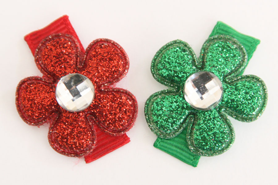 Christmas Baby Snap Clips Glitter Flowers