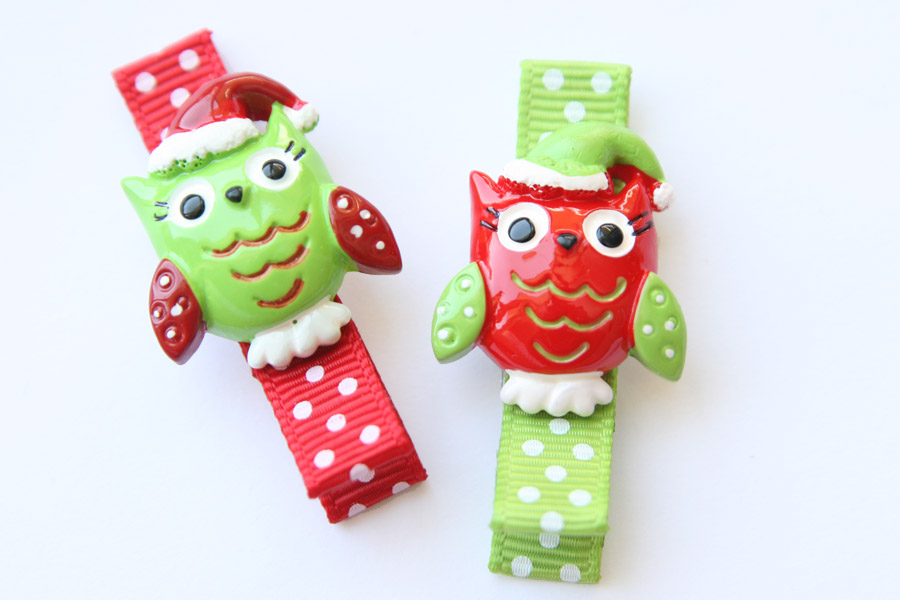 Christmas Owl Resin Clip SET OF 2 CLIPS
