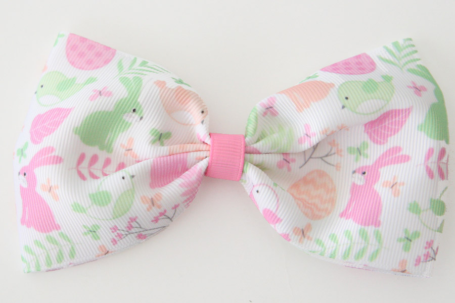 Mega Easter Rabbit & Bird Bow - Pink