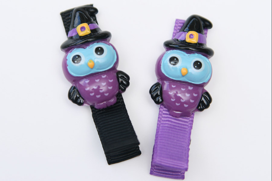 Halloween Owl Resin Clip