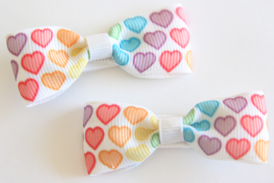 Valentines Day Rainbow Hearts Bow