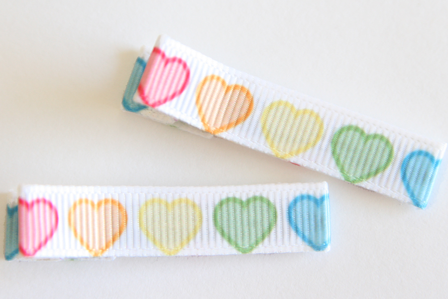 Valentines Day Rainbow Hearts Clippie