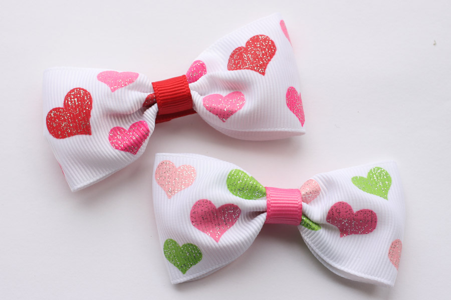 Valentines Day Big Bows - Glitter Hearts