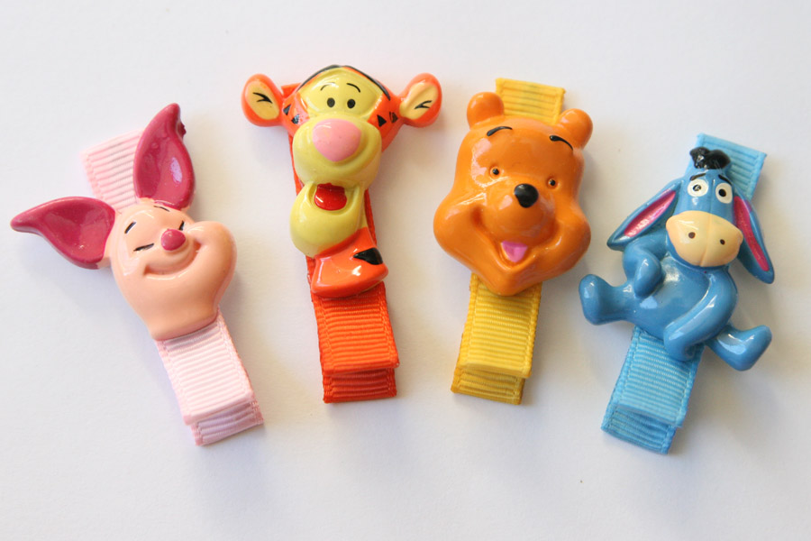 Pooh Bear & Friends Resin Clips SET OF 4 CLIPS - Click Image to Close