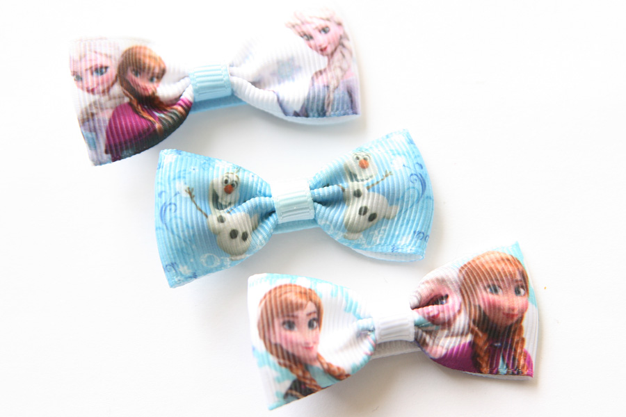 Frozen Bow Hairclips - Elsa, Anna & Olaf - Click Image to Close