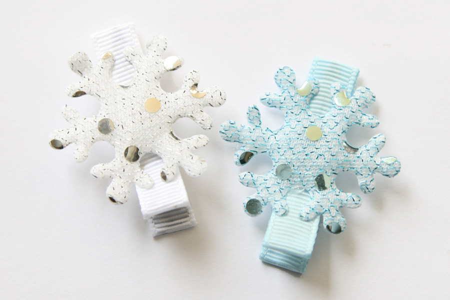 Snowflake Sparkly Applique Clip FROZEN