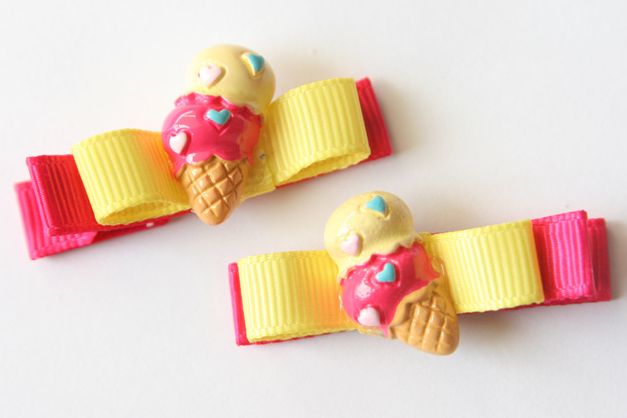 Icecream Resin & Bow - Yellow & Shocking Pink