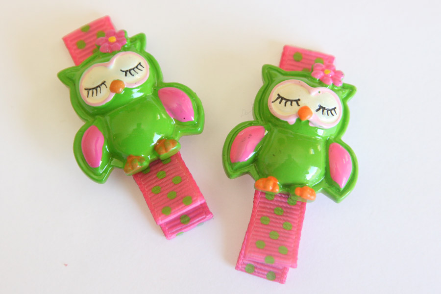 Hoot Hoot Green & Pink Resin Clip