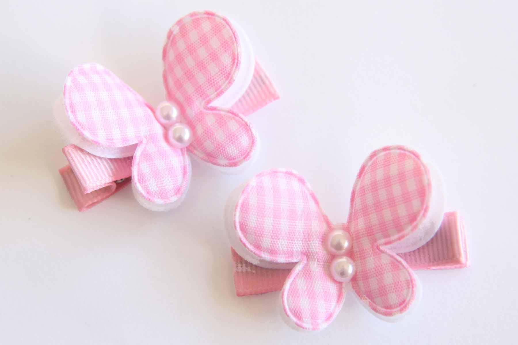 Pink & White Gingham Butterflies