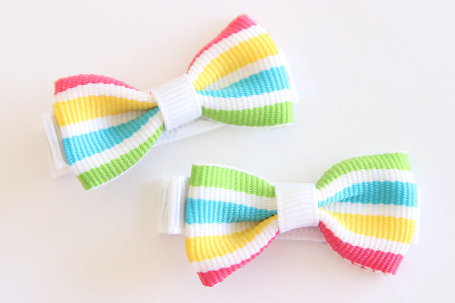 Rainbow Smoothie Stripes Bow