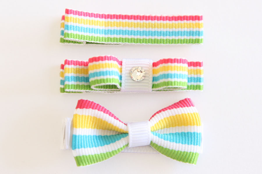 Rainbow Smoothie Stripes Small Bow with Rhinestone