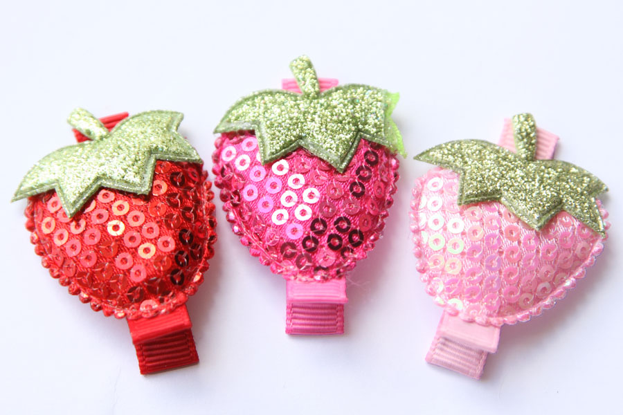 Sweet Strawberry Applique Clips